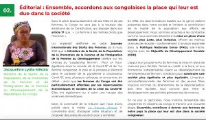 Éditorial de la Ministre Jacqueline Lydia Mikolo, Peuple, Genre & Santé N°6 (🇨🇬)
